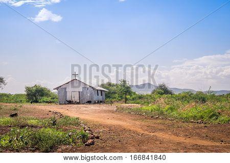 Small christian church in rural african area Kenya