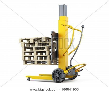Forklift Truck With Pallets Isolated. 3D Rendering