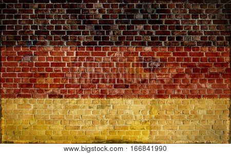 German flag painted on a brick wall