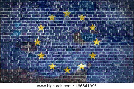 European flag painted on a brick wall