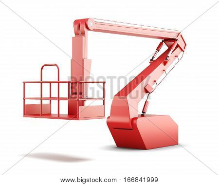 Cherry Picker Or Boom Lift Isolated On White Background. 3D Rendering