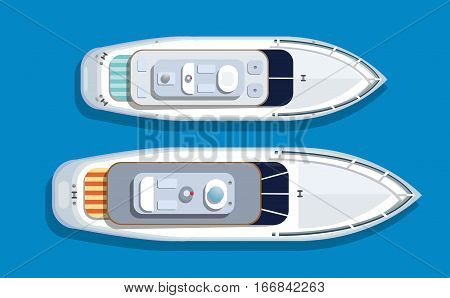 Top view pleasure boat tourist boat to travel by sea transport