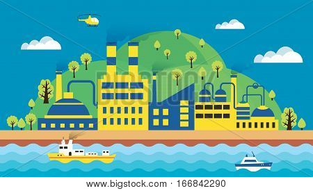 Urban landscape of the city. Ecology environmental protection the production factory pollution smoke building. The sea with merchant ships and waves. Vector illustration flat