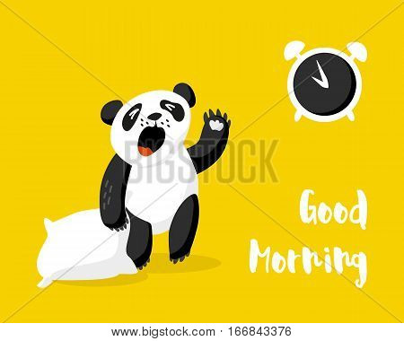 Cute panda with pillow wakes up. Good morning card with alarm clock and bear. Vector illustration.
