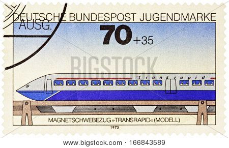 MOSCOW RUSSIA - January 25 2017: A stamp printed in Germany shows high-speed electric passenger train