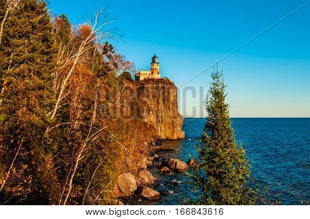 light house on the cliff lake Duluth