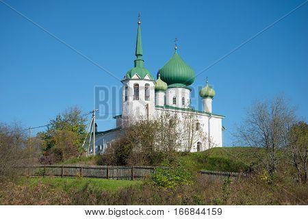 Church of John the Precursor on Malyshevaia hill sunny October day. Staraya Ladoga, Russia