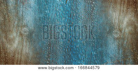 abstract blue wooden background with cracked blue paint on the surface gradient
