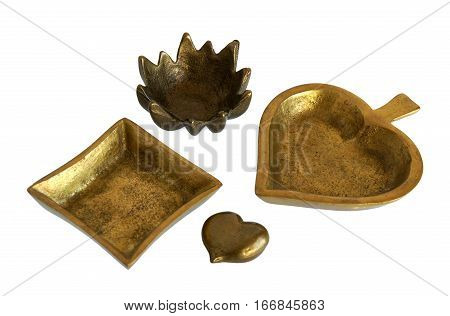Antique bronze caskets or jewelry boxes isolated on white background