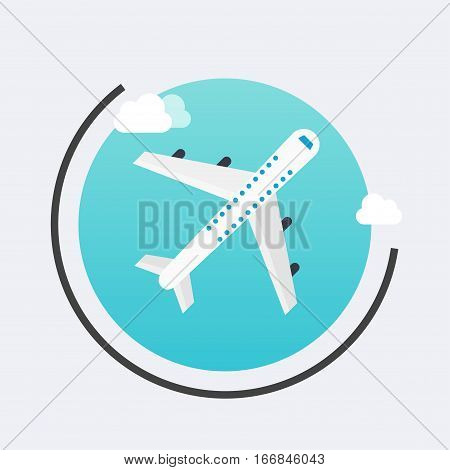 Airplane In The Air Icon. Vector Travel Concept Background. Flat Design Modern Illustration.
