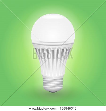 Economical LED light bulb. Save energy lamp. Realistic vector illustration.