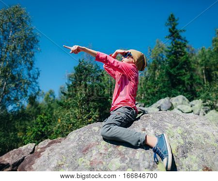Сute Little Girl Pointing Direction Hand Up In Mountain