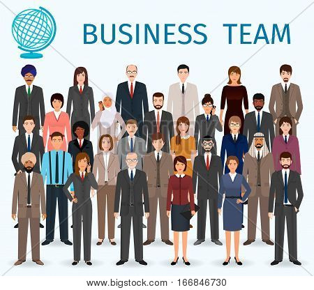 Business team. Group of detailed office employee people standing together. Teamwork concept. Vector illustration.