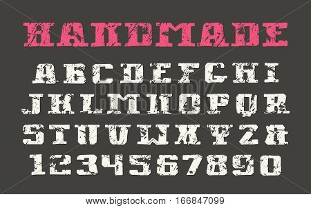 Serif font and numerals in the style of hand-drawn graphics. Print on black background