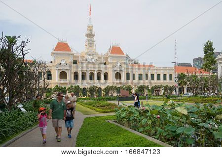 HO CHI MINH CITY, VIETNAM - DECEMBER 19, 2015: Walk in the center of Saigon. Views of City Hall