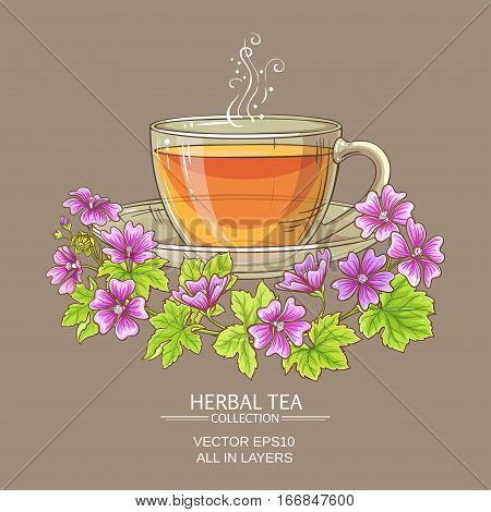 cup of malva tea on color background