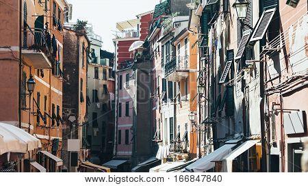 Beautiful narrow street in Vernazza Italy. Day