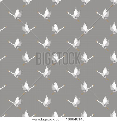 White Geese Seamless Pattern on Grey Background. Animal Bird Texture.