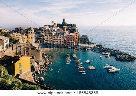 Scenic View Of Colorful Village Vernazza In Cinque Terre, Italy