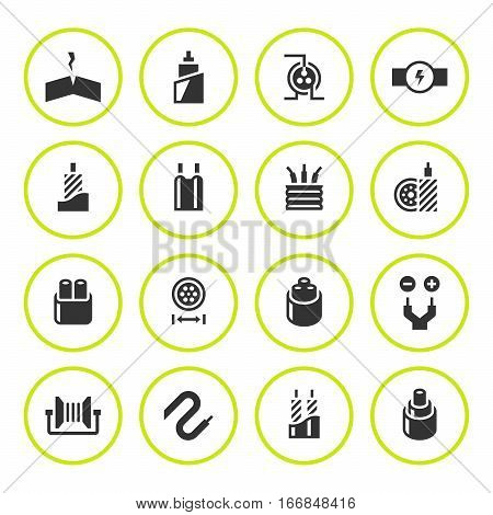 Set round icons of cables and wires isolated on white. Vector illustration