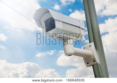 Close-up Of Security Camera Installed On Pole