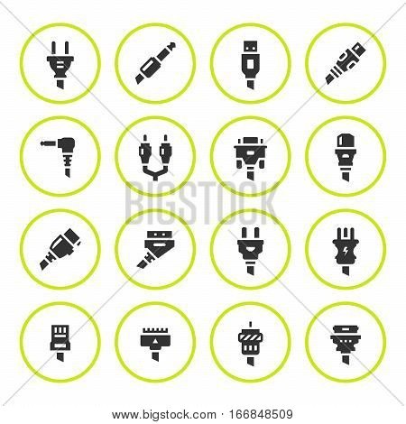 Set round icons of plugs and connectors isolated on white. Vector illustration