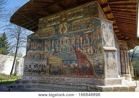 Suceava, Romania - April 30, 2014: Representation of the Last Judgment on the west wall at Voronet monasteryBucovina. Voronet is a monastery in Romania