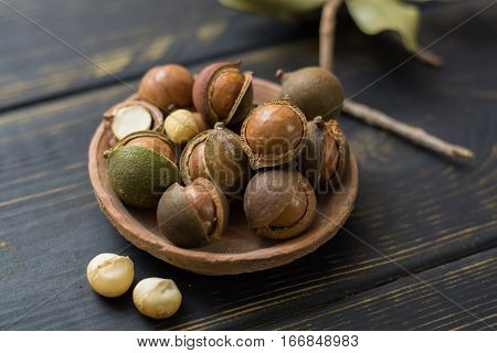 Macadamia nuts in shell on wooden table