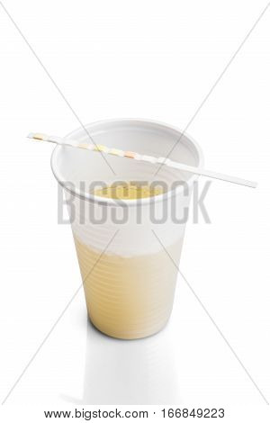 Medical Urine Test With Urine Test Strip On White Background