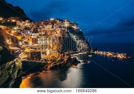 Night View Of Manarola Fishing Village In Cinque Terre, Italy