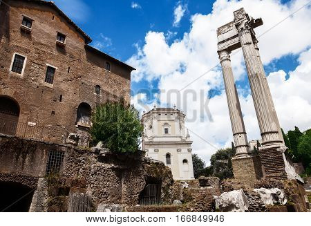Archeological Ruins In Historic Center In Rome