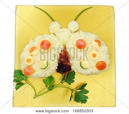 creative vegetable food meal with potato ladybird form