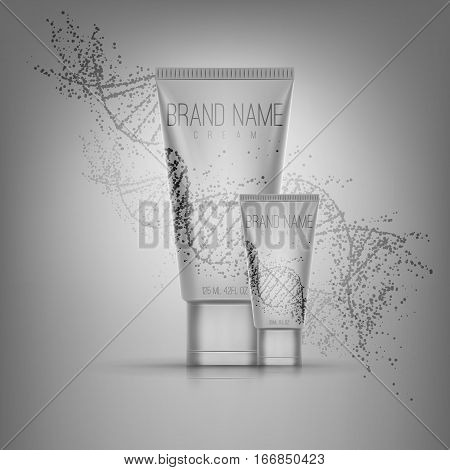 Realistic 3d  tube of cream or gel . Empty product mockup with reflection . Beutiful cosmetic ads .