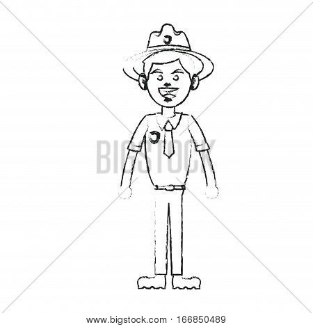 forest ranger icon over white background. vector illustration