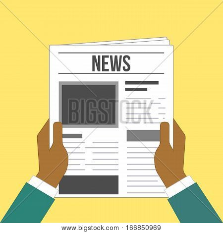 hand newspaper article flat design - man reading news illustration vector stock