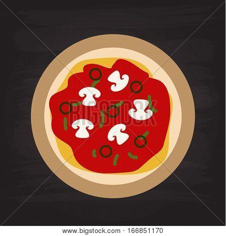 Pizza flat italian food design illustraion vector stock