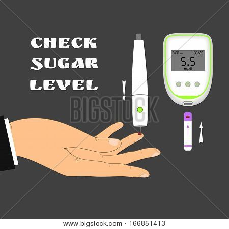 Blood sugar level monitoring with glucose meter. Check your blood glucose level. Diabetes screening.
