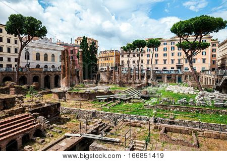 Rome, Italy - June 2, 2016: Archeological Ruins In Historic Center