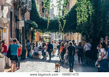 Rome, Italy - June 3, 2016: Crowd Of Tourist Walking On Old Town Italian Street