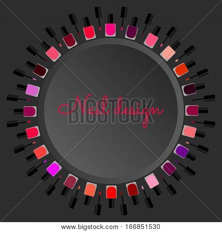 set of colored nail Polish for manicures and pedicures