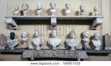 Vatican, Rome, Italy - June 4, 2016: Antique Italian Busts In The Vatican Museum