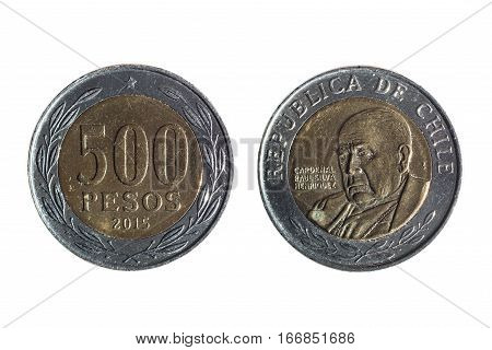 Chilean Currency Of Five Hundred Pesos