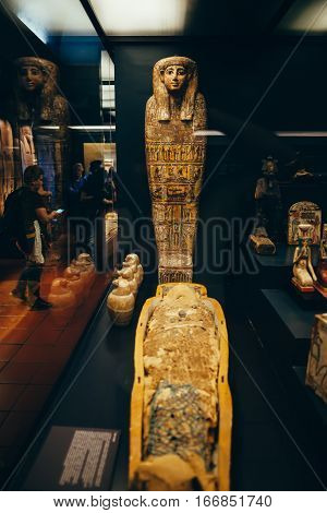 Rome, Italy - June 4, 2016: Ancient Egyptian Mummy And Sarcophagus In The Vatican Museum