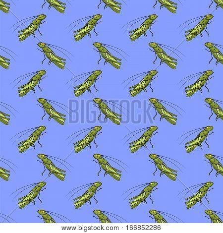Green Cartoon Grasshoppers Seamless Pattern on Blue Background.