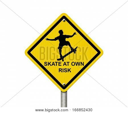Skateboarding Warning Sign An yellow caution road sign with skateboarder icon and text skate at own risk isolated on white 3D Illustration