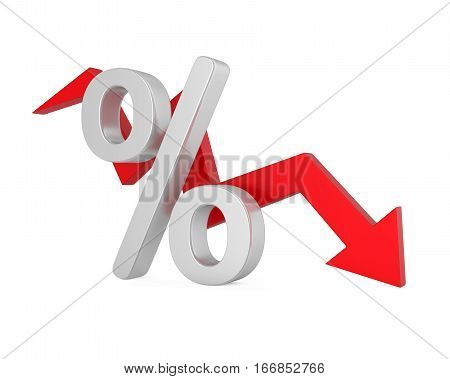 Percent Down Arrow isolated on white background. 3D render