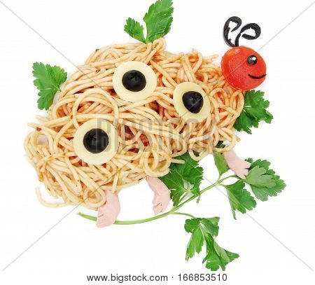 creative vegetable food meal with spaghetti ladybird form