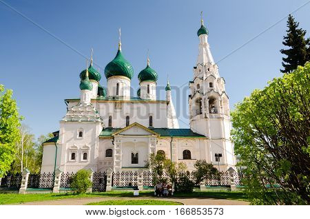 YAROSLAVL RUSSIA - MAY 8 2016: Church of Elijah the Prophet in Yaroslavl Russia. Golden Ring of Russia.