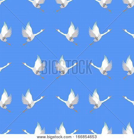 Grey Geese Seamless Pattern on Blue Background. Animal Bird Texture.