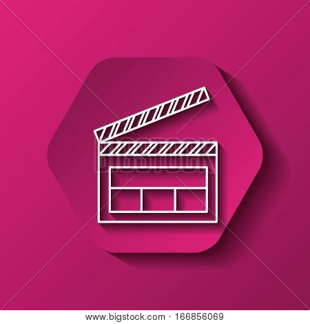 hexagon button with clapboard icon over pink background. colorful design. vector illustration